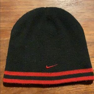 Reversible Black and Red Nike Knit Beanie